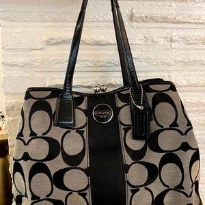 Coach Signature Stripe Carryall Black Bag F13533